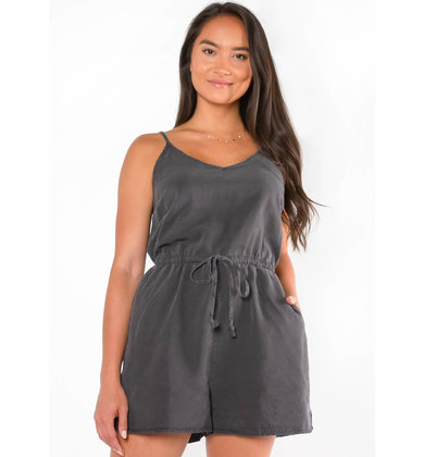 PRIVATE BEACH CHARCOAL ROMPER