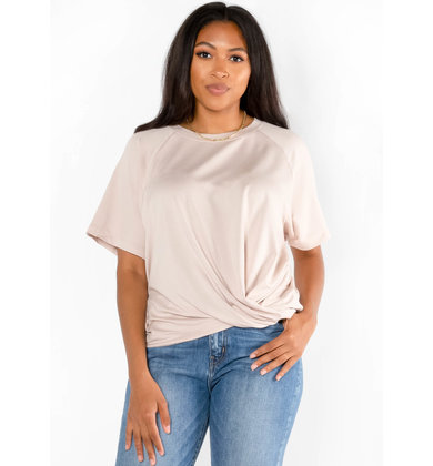 YOUR TYPE FRONT TWIST TOP - TAUPE