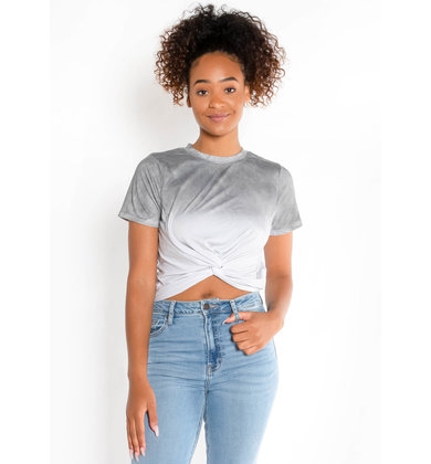 BREAKAWAY OMBRE CROP TOP - GREY