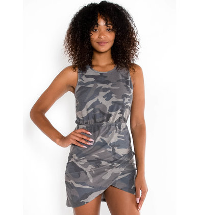 SLOW YOUR ROLL CAMO DRESS