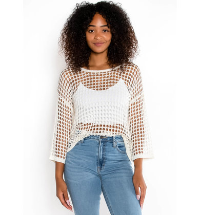 DOWN IN THE SAND CROCHET KNIT TOP