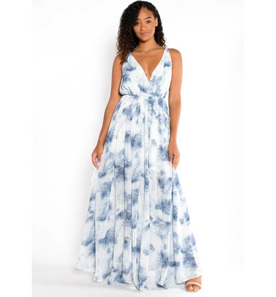 WILD BLUE PRINTED MAXI DRESS