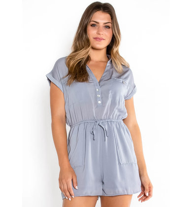 SUMMER RAIN BUTTON UP ROMPER