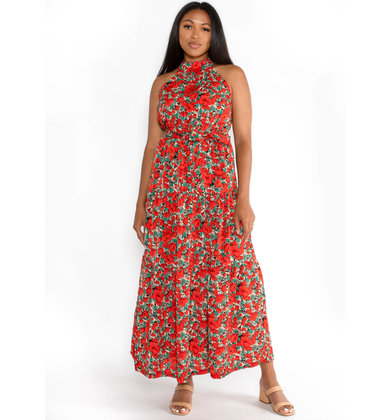 WORK OF ART FLORAL MAXI DRESS