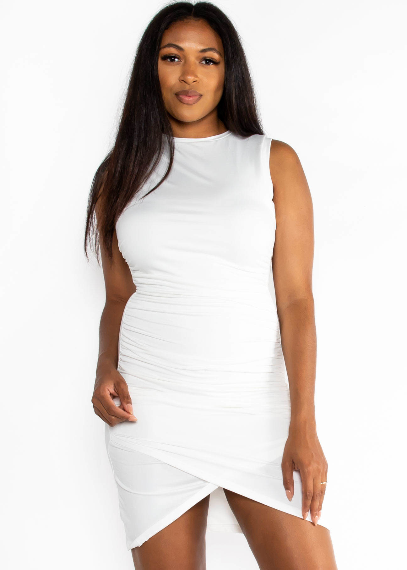 HEAT WAVE RUCHED DRESS - WHITE