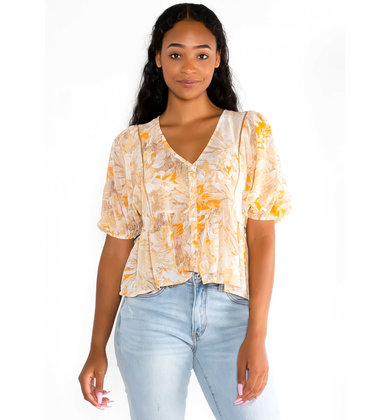 SUNBURST FLORAL LIGHTWEIGHT BLOUSE