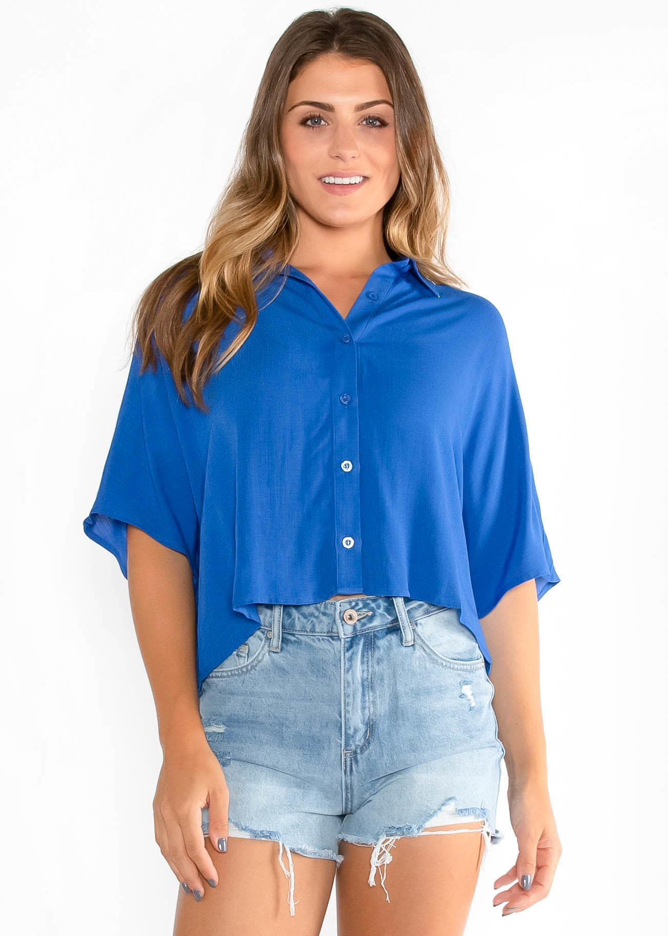 SAIL AWAY CROPPED BUTTON UP