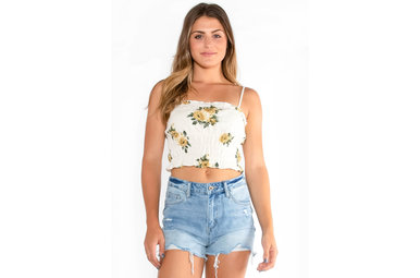 SUMMER OF LOVE SMOCKED CROP TOP