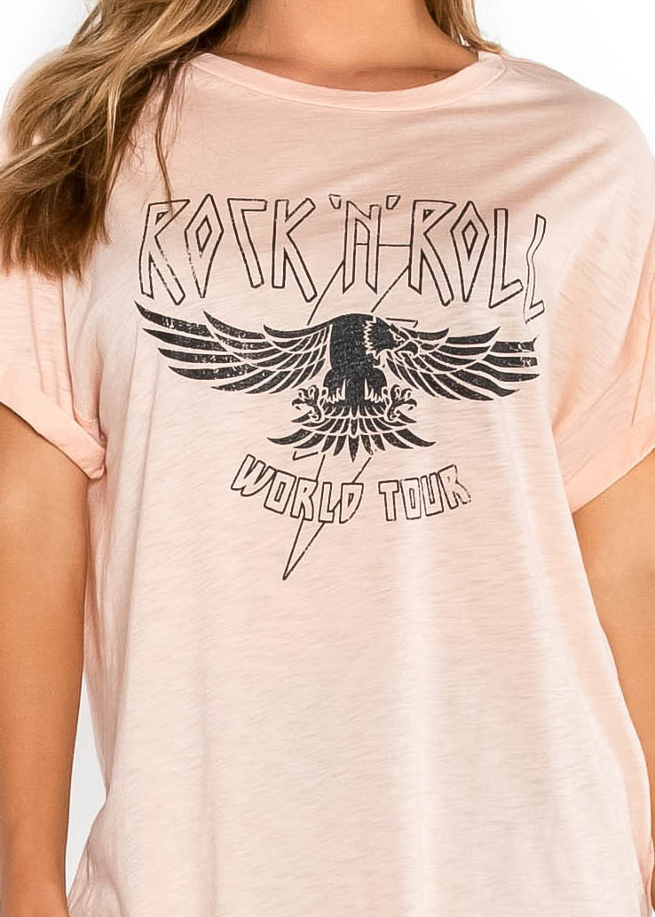 ROCK N' ROLL PINK GRAPHIC TEE