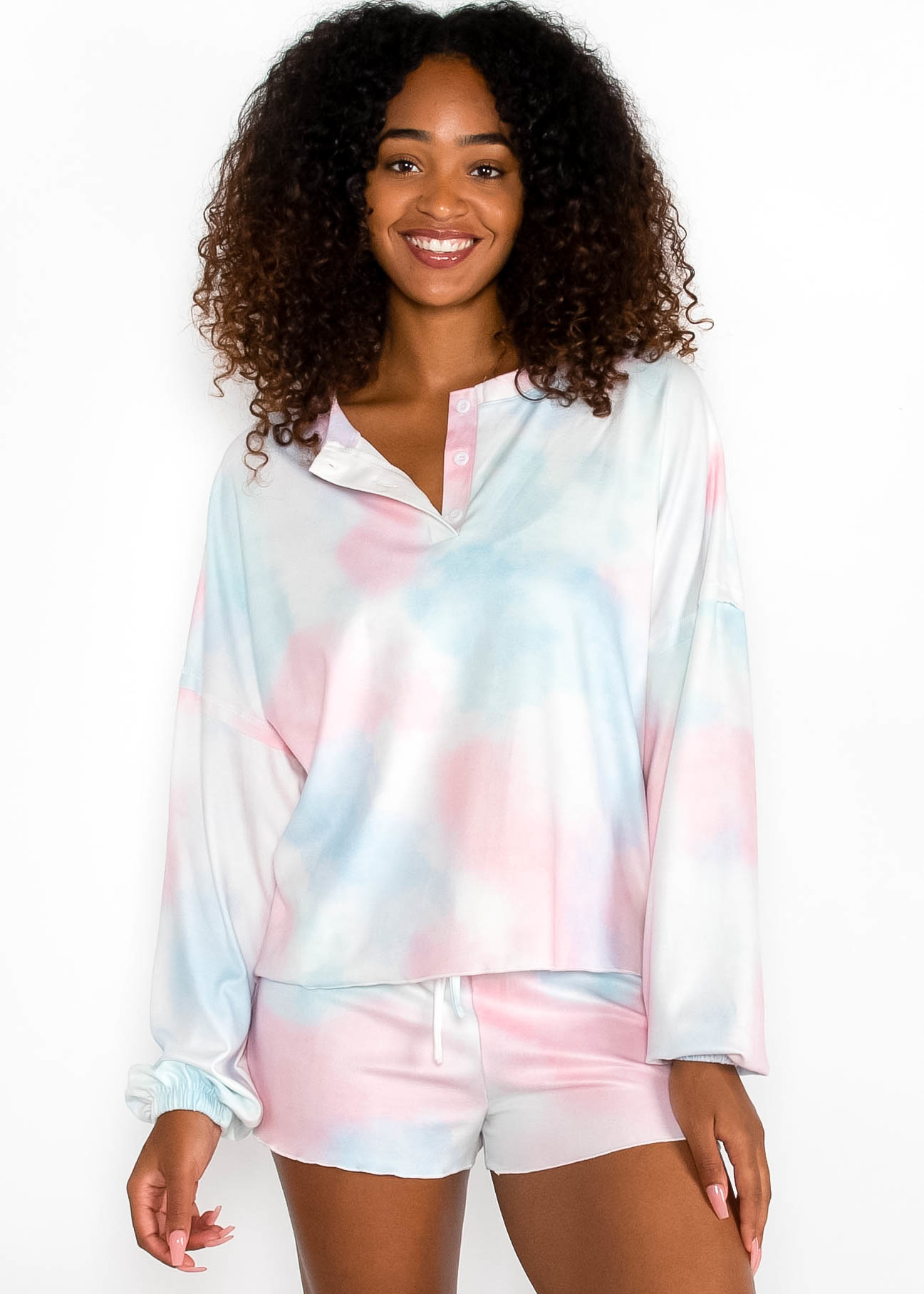 MORE THAN COZY TIE DYE HENLEY TOP