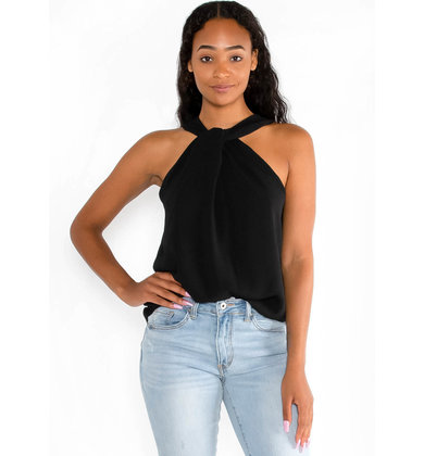 SUIT + TIE BLACK HALTER TOP