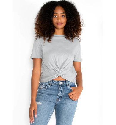 ROAD TRIP FRONT TWIST TOP - GREY