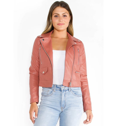 LEXI LEATHER JACKET - MAUVE