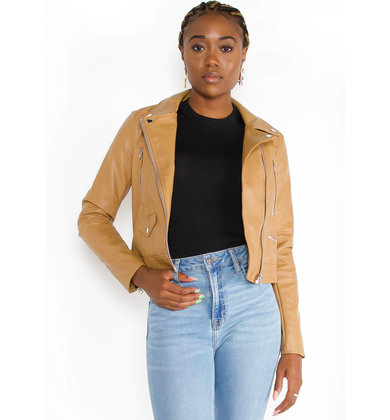 LEXI LEATHER JACKET - CAMEL