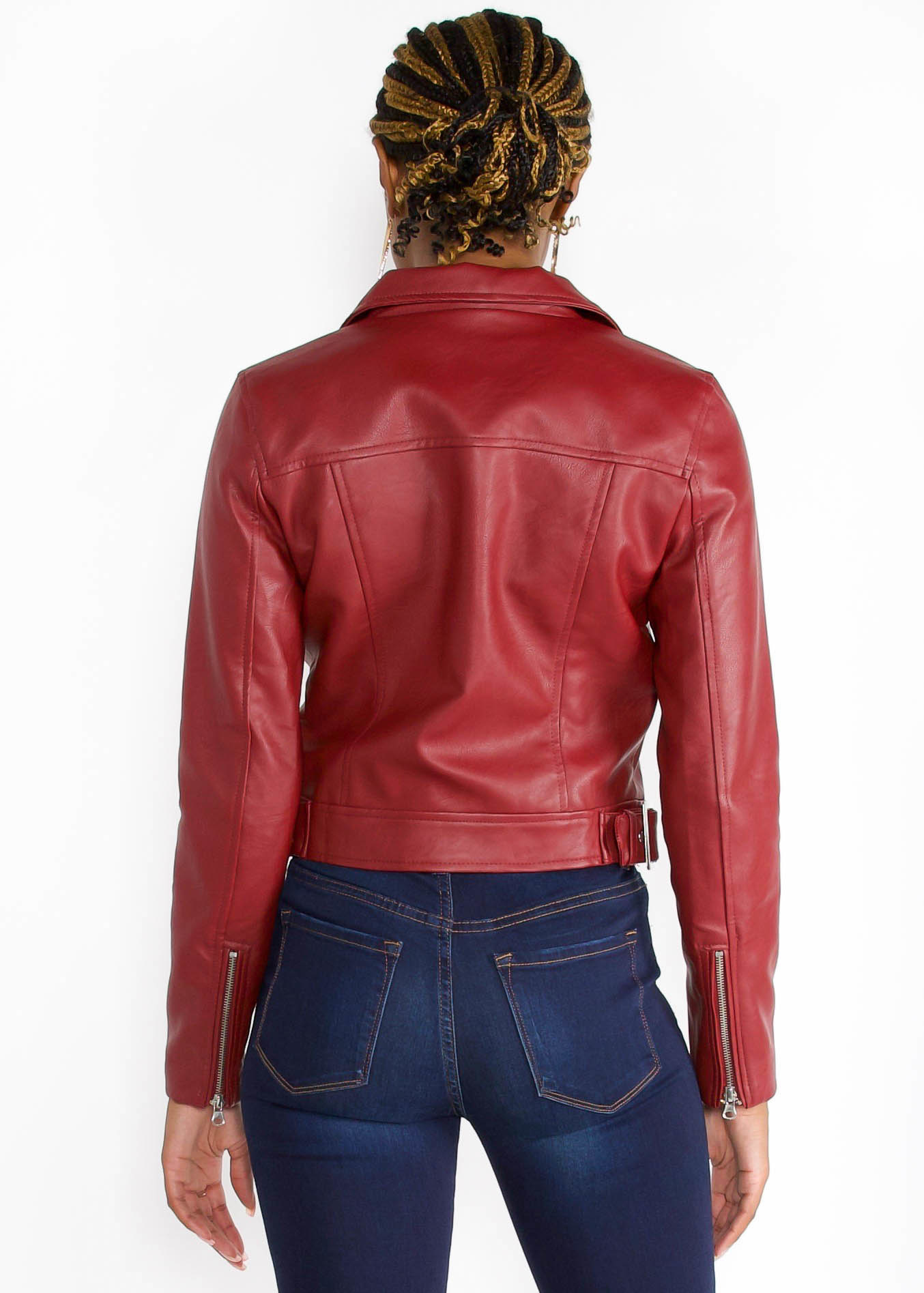 LEXI LEATHER JACKET - BURGUNDY
