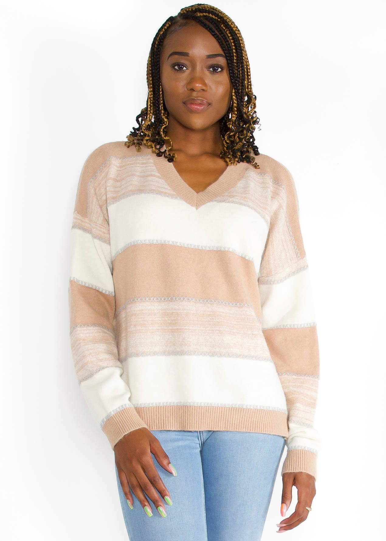 SAY IT AGAIN STRIPED SWEATER