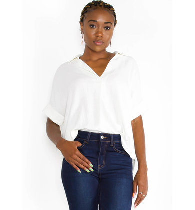 SIP OF CHAMPAGNE LINEN BLOUSE