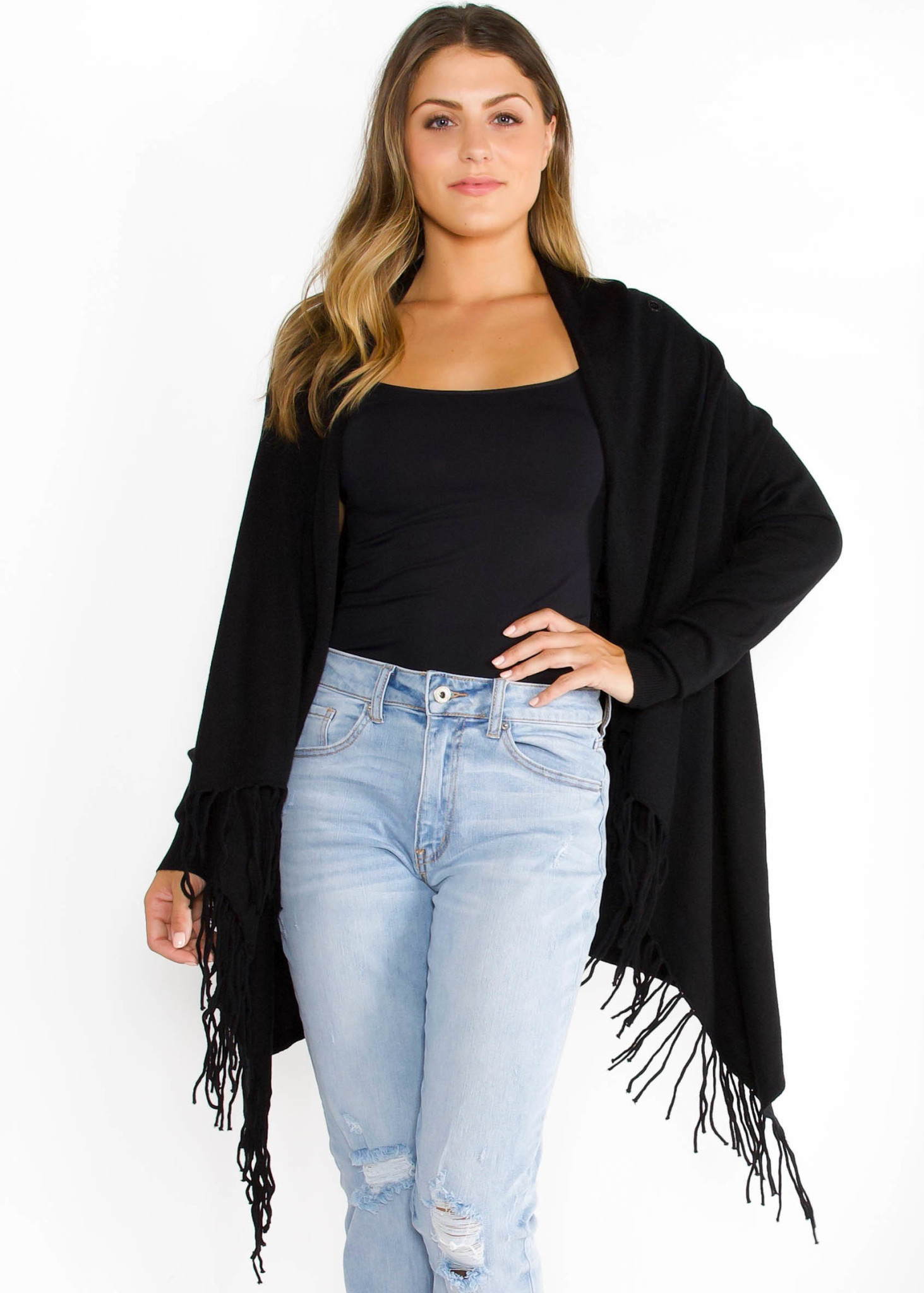 CHICAGO FRINGE CARDIGAN - BLACK