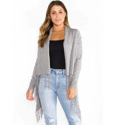 CHICAGO FRINGE CARDIGAN - GREY