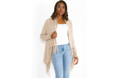 CHICAGO FRINGE CARDIGAN - BEIGE