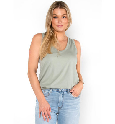 JUST THE START TANK TOP -SAGE