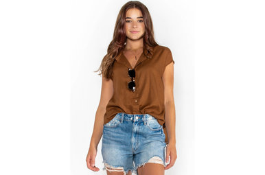 GIVE + TAKE BUTTON UP BLOUSE