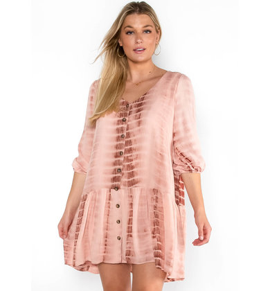ON A WHIM TIE DYE DRESS - PINK