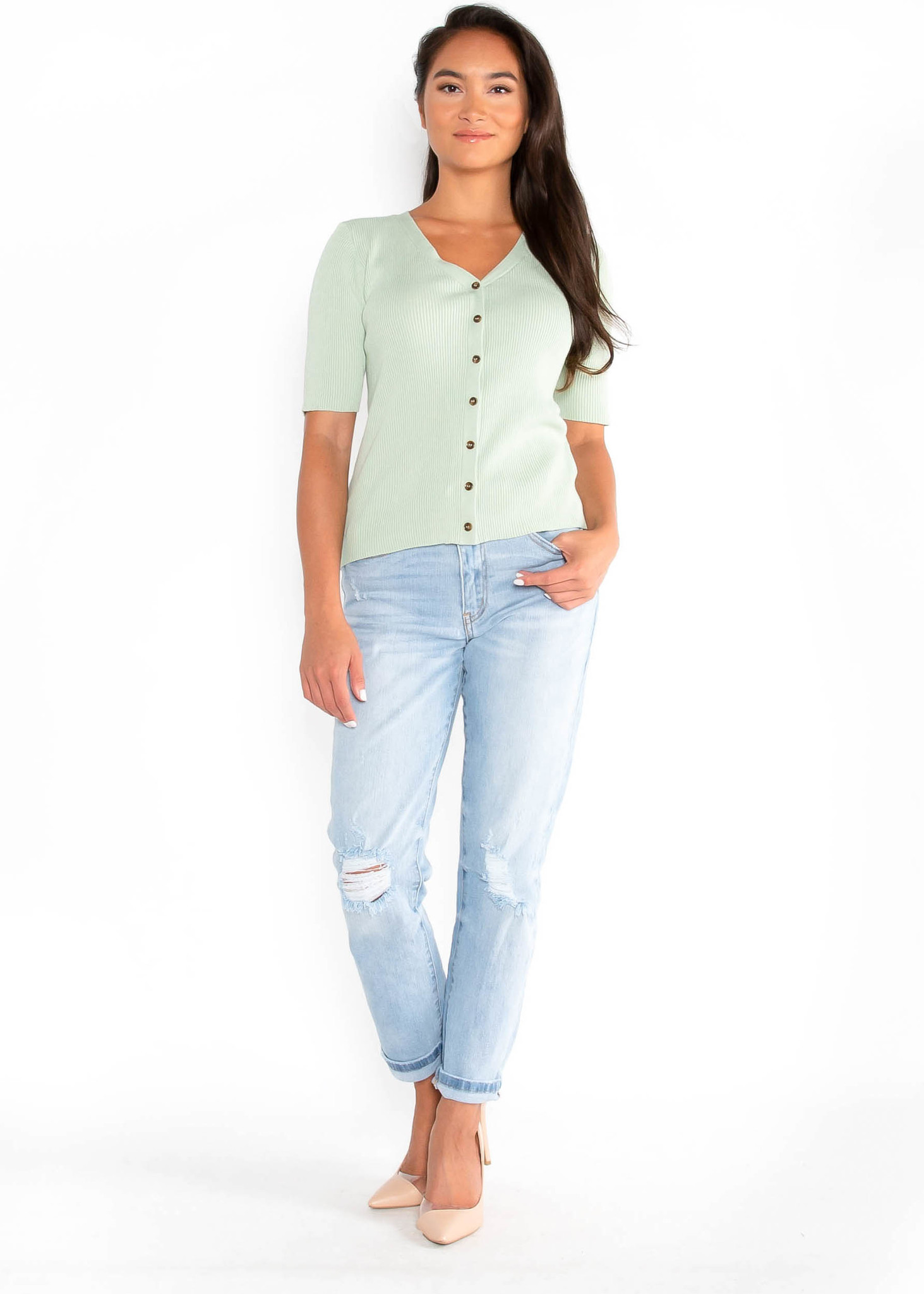 SUNDANCE RIBBED BUTTON UP TOP