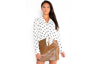 SAY SO POLKA DOT BLOUSE - IVORY
