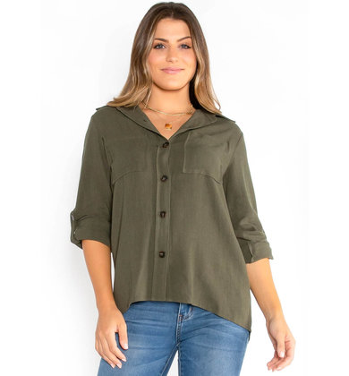 MIND AT EASE OLIVE BUTTON UP