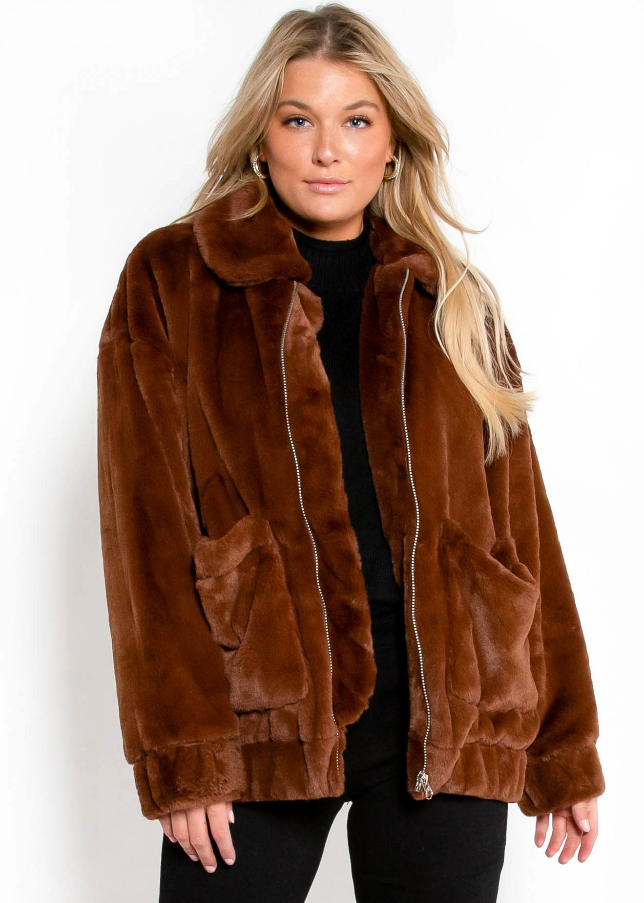 GLAMOUR FUR JACKET - BROWN