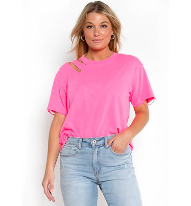 FUN N' SUN DISTRESSED TEE - PINK