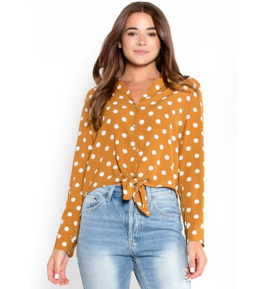 SAY SO POLKA DOT BLOUSE - MUSTARD