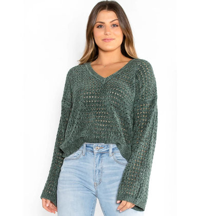 ISRA CHENILLE SWEATER - GREEN