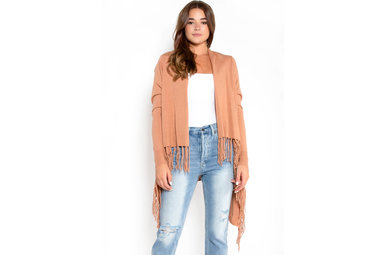 CHICAGO FRINGE CARDIGAN - CAMEL