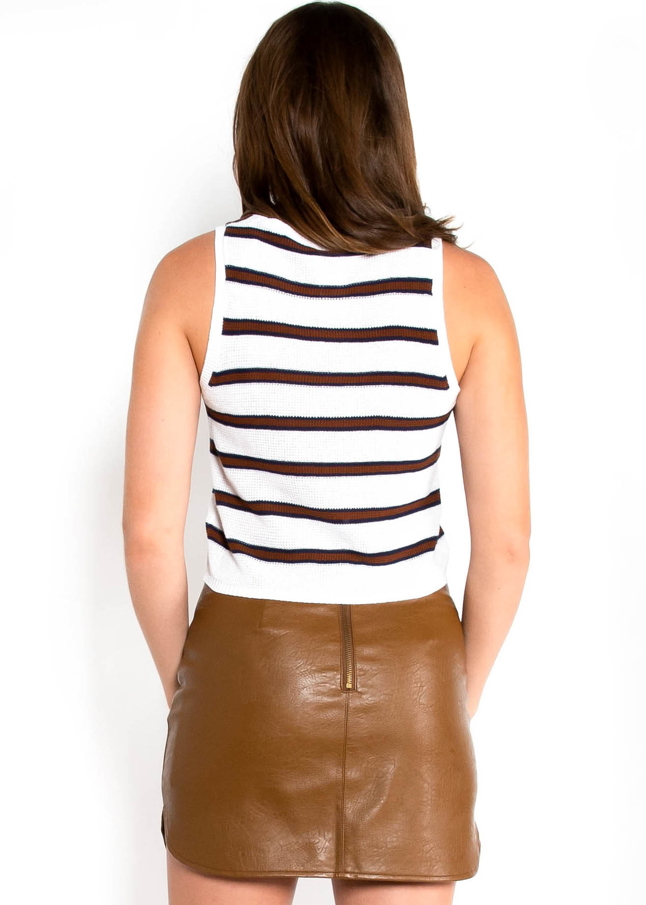SIMPLE LIFE STRIPED KNIT TANK TOP