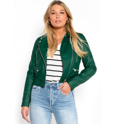 LEXI LEATHER JACKET - GREEN