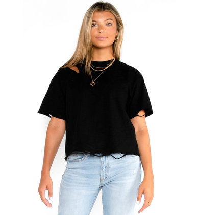 FUN N' SUN DISTRESSED TEE - BLACK