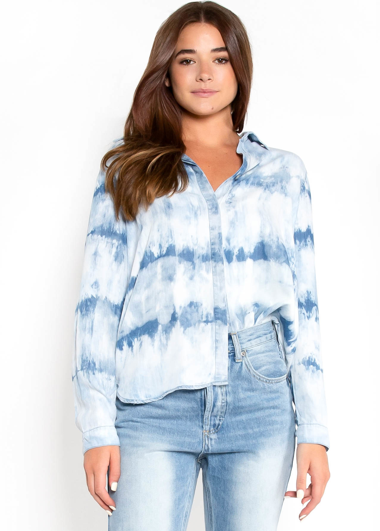 OUR MOMENT TIE DYE BUTTON UP