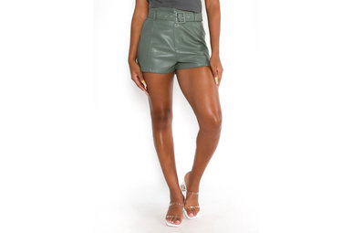 PAXTON LEATHER SHORTS - OLIVE