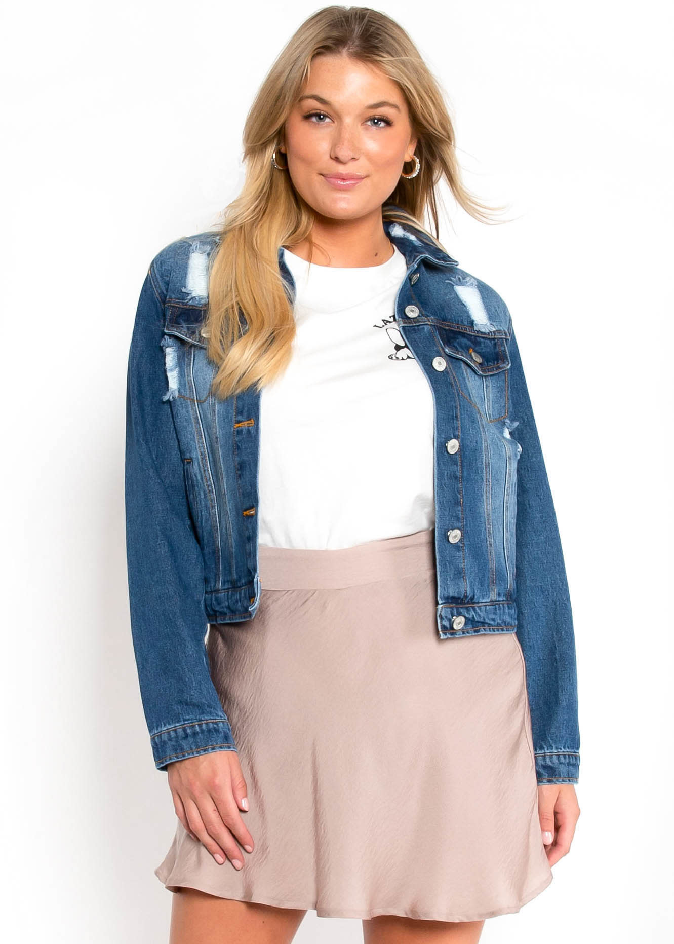 COCO DISTRESSED DENIM JACKET