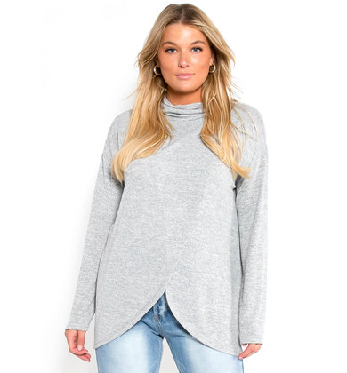 ON THE GO COWL NECK SWEATSHIRT