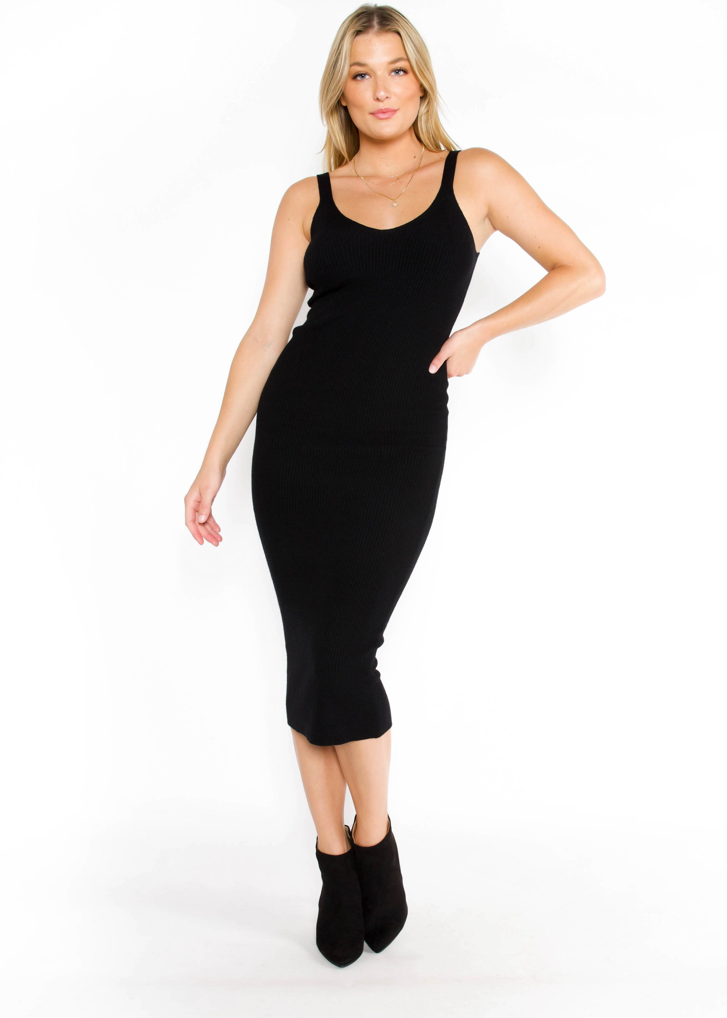 TOO LATE RIBBED BODYCON DRESS