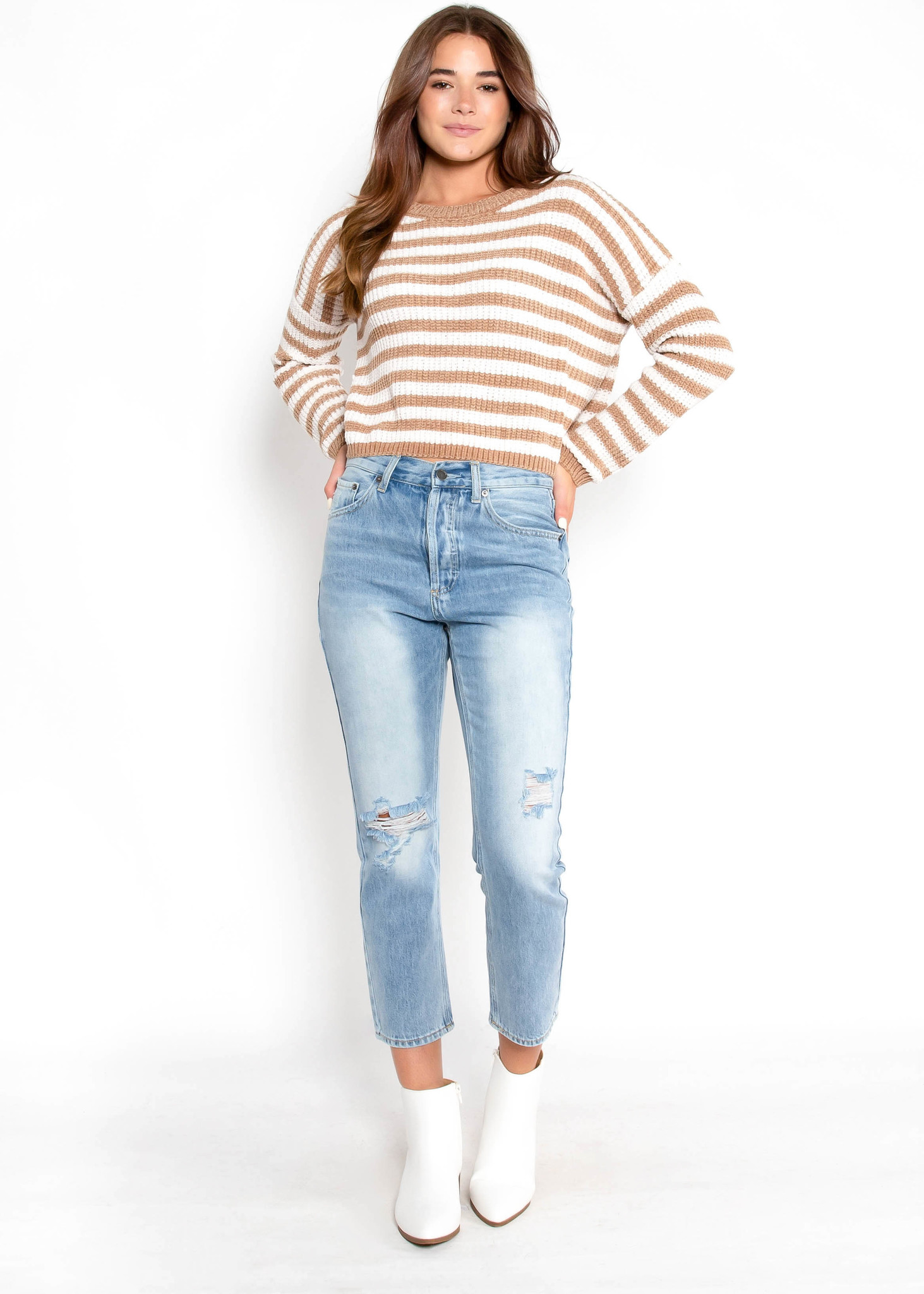 BACK ON TRACK STRIPED SWEATER