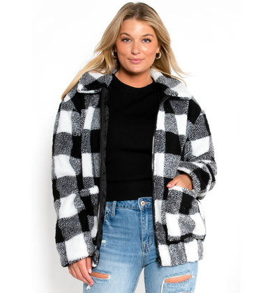 COZY UP PLAID JACKET