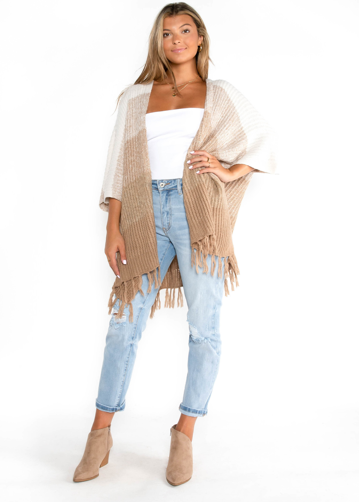 GIVE THANKS FRINGE CARDIGAN
