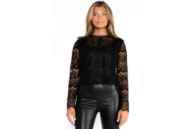 TEST MY LIMITS BLACK LACE BLOUSE