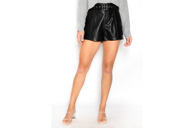 PAXTON LEATHER SHORTS - BLACK
