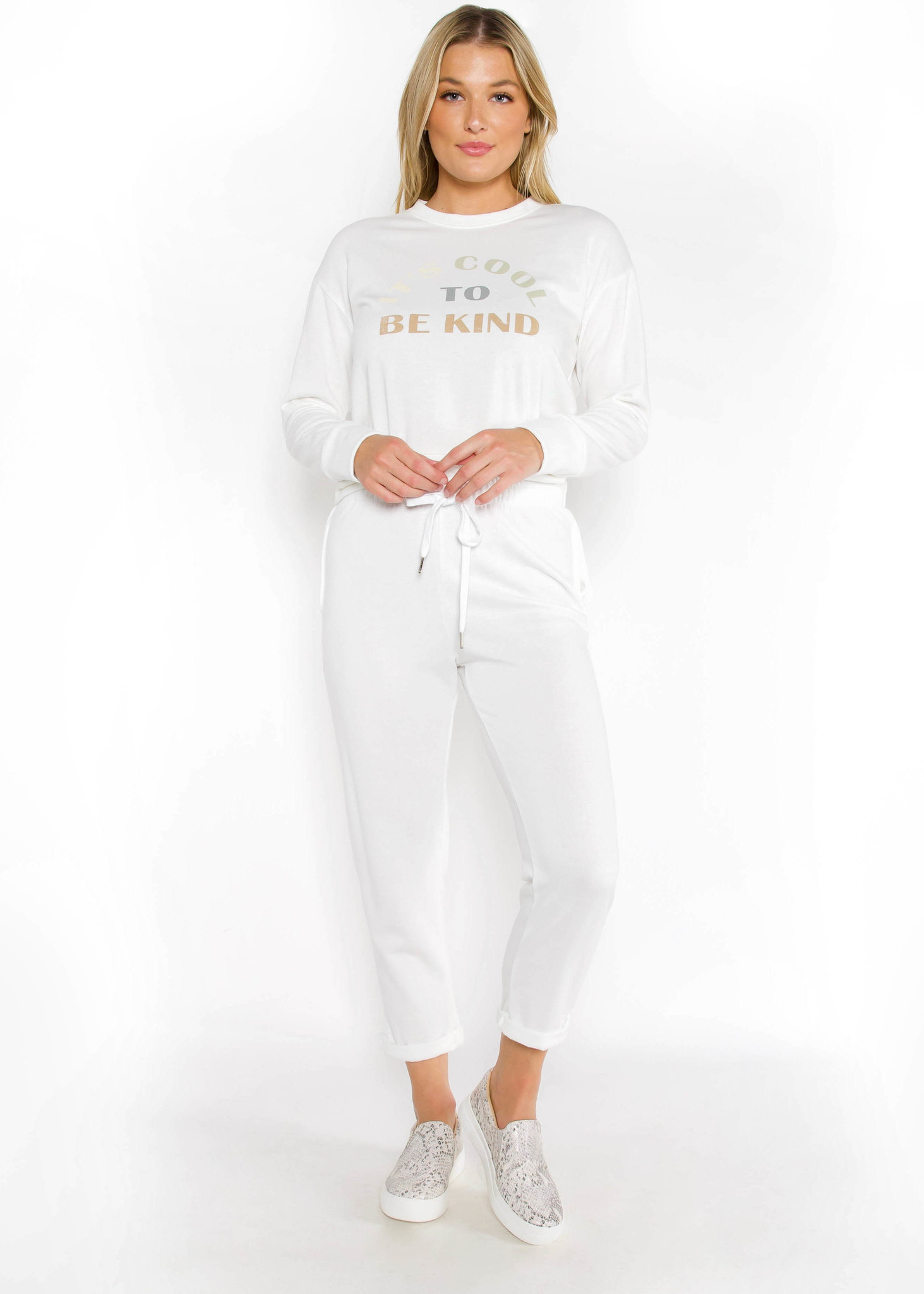 COOL TO BE KIND WHITE JOGGERS