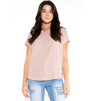 ROUND WE GO KNIT TOP - MAUVE